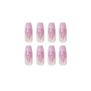Nails French Full Cover Press On Nail Pink Flame Long Coffin Ballet False 24Pcs