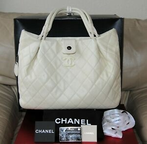 100% Authentic CHANEL CLASSIC QUILTED EXPANDABLE TOTE HOBO BAG  Ivory Off White