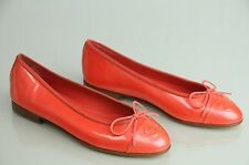 NEW CHANEL Perly Patent Coral Red SHOES BALLERINA FLATS 37.5  dust bag