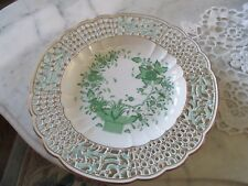 """HEREND Open Work Pierced Lattice Edged Chinese Bouquet Green Wall Plate 10 1/2"""""""