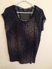 6256)  BEBE  S blue black gray animal print thin jersey knit pullover top loose