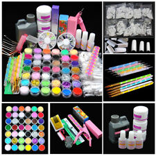 Nail Art Care Set 48pc Acrylic Powder Liquid Manicure DIY Tips Polish Brush Kit