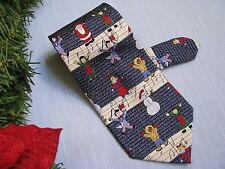 Save the Children Xmas Neck Tie The Sound of Music Multi-Color & Navy Blue Silk