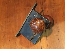 Antique P&F Corbin Door Hardware Mortise Lock with Brown Swirled Porcelain Knobs