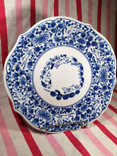 Fab Andrea by Sadek Vintage Blue White Floral Bunny Rabbit Scalloped Edge Plate