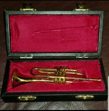 Vintage Solid Brass Miniature Trumpet Figurine