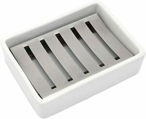 Lofekea Ceramic Soap Dish Stainless Steel Soap Holder for Bathroom and Shower