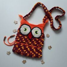 owl bag children's knitted backpack redhead bird 6 years old girl child