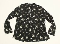 Old Navy Women's Long Sleeve Faux Wrap V-Neck Floral Top MP7 Black Medium NWT