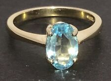 Solid 9ct gold sky blue topaz gemstone oval solitaire ring, new, UK size O.