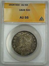 1828 Capped Bust Silver Half Dollar Coin 50c ANACS AU-55 O-117 GBr