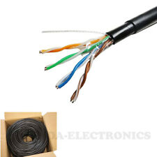 Cat6 1000FT UV 550 mhz Outdoor Cable UTP Burial Solid Lan Network Black Cat 6