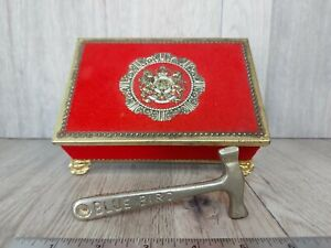 Blue Bird Confectionery Footed Tin & Toffee Hammer Flocked Red Gold Crest