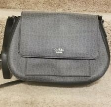 GUESS Womens Crossbody Handbag Purse Logo Grey Black G Logo