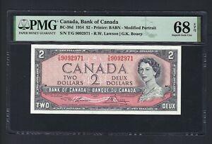 Canada 2 Dollars 1954 BC-38d Uncirculated Graded 68 Top Pop