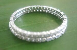 """""""2 Rings"""" 925 sterling silver 1.5mm CZ Wedding Band Big Size 3.5 to 13US - GIRL"""