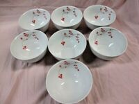 "7 Mikasa Gourmet Basics Red Berries Soup/Cereal Porcelain Bowls 5 1/2"" EUC (SP)"