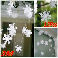 3M SNOWFLAKE GARLAND FROZEN WINTER WONDERLAND CHRISTMAS PARTY HOME DECOR