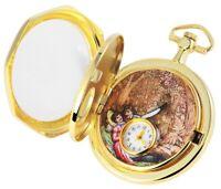 Taschenuhr Weiß Gold Malerei Motiv Mechanisch Handaufzug Analog X-485402000002