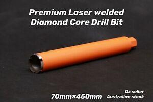 "Premium Laser welded Diamond Core Drill Bit 70mm x 450mm  1-1/4""UNC"