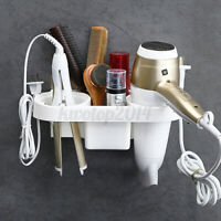Hair Dryer Rack Storage Organizer Comb Holder Bathroom Wall Mounted Stand Shelf