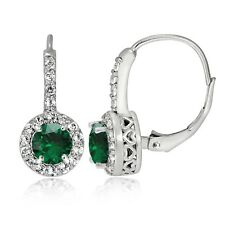 Sterling Silver Created Emerald & White Topaz Round Leverback Earrings