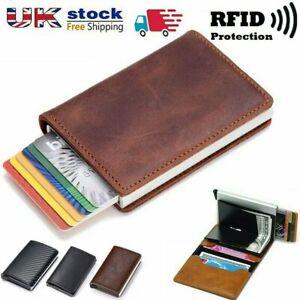Folding Men Wallets RFID Anti-theft Credit Card Leather Wallet Holder Purse UK