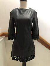 NWT MUUBAA *RARE* LEATHER EMBROIDERED LACE STYLE DRESS BLACK US 4 UK 8 EU 36