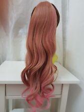 Gradient Leinen Pink Perücke Cosplay Haarverlängerung Pferdzopf leichtgewellt
