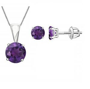 Round Purple Amethyst Solitaire Earring Pendant Jewelry Set 14k White Gold Over
