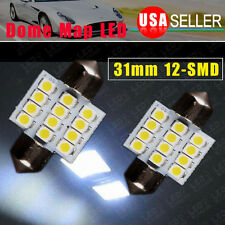 2x Cool White Festoon 31MM Car Interior Dome 12-LED Light Bulbs Lamp DE3175 12V