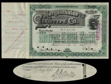Mergenthalter Linotype  Stock Issued To And Signed On Verso By Darius O. Mills