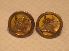 Gold Filled Diamond Eye Bull Cow Cufflinks Antique 10K Solid Rose Gold & Yellow