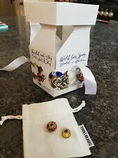 Unused Genuine 2 Trollbeads, Brown Glass Yellow Prism,with Original Bag and Box