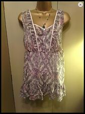 GEORGEOUS CAMI AND TUNIC SET. NEW M&S SIZE 14.  CREAM PRINTED SHEER ITEM.