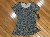 NWT Jones New York Women's Polka Dot Top Blouse Ruched Side Tie  Sz L MSRP $49