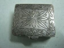 Antique silver small pill Box with flowers (1)