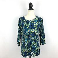LANE BRYANT women's sz 14 16 sweater - blue green floral button cardigan large