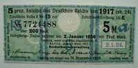 5 Mark Anleihe des Deutschen Reichs von 1917 Banknote Grün (2792)
