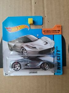 Hot Wheels - FERRARI LA FERRARI [SILVER] VHTF CAR NEAR MINT SHORT CARD GOOD