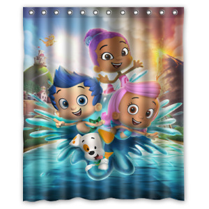 Famous Bubble Guppies Cartoon Print Polyester Waterproof Bathroom Shower Curtain
