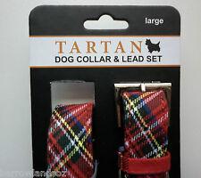 Royal Stewart Tartan Dog Collar & Lead Set (Large Dogs) - Gift, Scotland Novelty