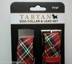 Royal Stewart Tartan Dog Collar & Lead Set (Large Dogs) - Gift, Scotland Novelty
