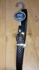 New Ladies Marks and Spencer Black Synthetic  Gold Buckle Belt Size Medium
