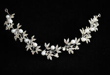 Silver Bendable Pearl Crystal Bridal Hair Vine Wedding Headband Hair Accessories