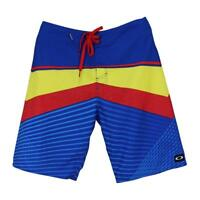 Oakley Blue Red Yellow Stripe Mens 30 S Casual Boardshort Beach Surf Swim Short