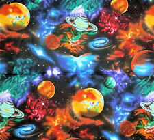 "STARGAZERS Planets Galazy Stars 33"" #6075 Cotton Quilting Fabric Kaufman Solar"