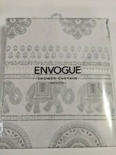 NEW! ENVOGUE Fabric 100% COTTON Shower Curtain ELEPHANTS off white and silver
