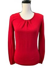Worthington Womens Medium M Red 3/4 Sleeve Sweater Pleated Front Career Soft