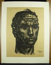 Pierre PAULUS (1881-1959) portrait de mineur 1940 estampe beau tirage 52cm c1980